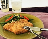 Sesame Breaded Pork Chop with Green Beans and Red Pepper