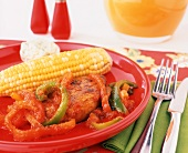 Pork Chop with Bell Peppers and Corn on the Cob