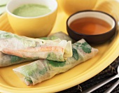 Roasted Lamb Salad Wrapped in Rice Paper; Bowl of Pea Soup