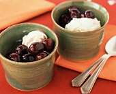 Two Bowl of Cherries Jubilee; Spoons