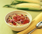 Sweetcorn soup with peppers and black-eyed peas