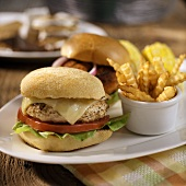 Turkey cheese burger with chips