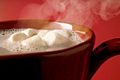 Steaming cocoa with marshmallows (close-up)