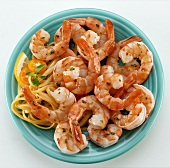 Shrimps and scampi with linguine