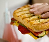 Hand holding roasted vegetable and cheese sandwich