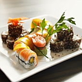 Assorted Maki Sushi on a Square White Plate