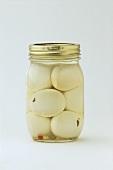 Pickled eggs in screw-top jar
