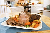 Sliced Roast Beef on a Platter in a Kitchen