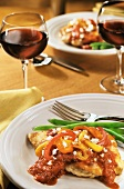 Boneless Chicken in a Tomato Bell Pepper Sauce with Green Beans and Wine