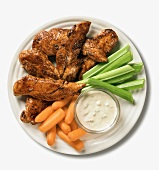Spicy Chicken with Blue Cheese Dip, Carrots and Celery