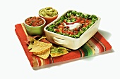 Mexican Multi-Layer Dip with Chips, Salsa and Guacamole