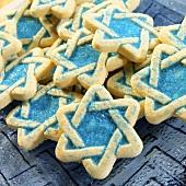 Jewish biscuits (Star of David) with blue sugar