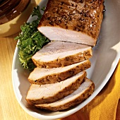 Roast pork with maple syrup and mustard glaze