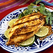 Barbecued chicken breast, marinated in lime and Tequila