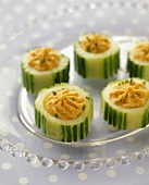 Cucumber Hors d'Oeuvres with Red Pepper Filling