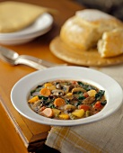 Vegetable Beef Soup with Bread