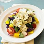 Spring Salad with Artichokes, Arugula, Tomato, Bell Pepper and Purple Cauliflower