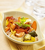 Sauteed Bell Peppers, Zucchini and Onions with Sprig of Mint