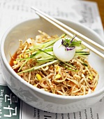 Spicy Korean Cellophane Noodle Dish with Bean Sprouts and Cucumber
