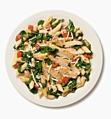 Sliced Chicken with Spinach, White Beans and Pasta