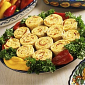 Tortilla Pinwheels with Cream Cheese, Roasted Red Pepper and Cheese