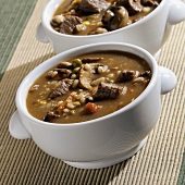 Beef and Barley Soup in a White Soup Bowl