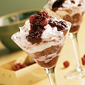 Raspberries with Whipped Cream and Cointreau in a Dessert Glass