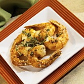 Pan Fried Shrimp on a Square Plate