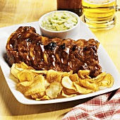 Baby Back Ribs with Saratoga Chips and Cole Slaw