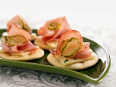 Cuban Crackers (Crackers Topped with Ham, Pickles and Cheese)