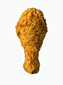 A Single Fried Chicken Drumstick on White