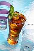 A Glass of Iced Tea with Fresh Mint