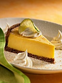 A Slice of Key Lime Pie with Whipped Cream