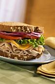 A Turkey Sandwich with Muenster Cheese