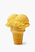 A Vanilla Ice Cream Cone with Two Scoops of Ice Cream
