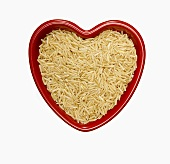 Brown Rice in a Heart Shaped Bowl