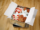 Decorative Holiday Cookies in a Tin
