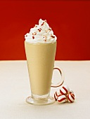 A Peppermint Latte with Whipped Cream and Peppermint Candies