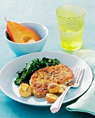Mustard Encrusted Pork Chop with New Potatoes and Spinach