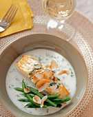 A Halibut Fillet in Coconut Milk with Green Beans
