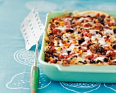 Mexican lasagne with sweetcorn, mince and peppers