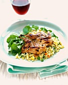 Grilled Quail with Orzo and Red Wine
