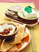 Cream Cheese Dips with Tortilla Chips and Crackers