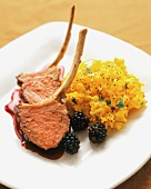 Lamb Chops with Blackberry Sauce and Yellow Rice