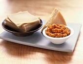 Ingredients for Pumpkin Ravioli: Pumpkin Puree, Parmesan and Wonton Wraps