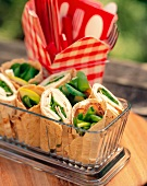 Turkey Wraps in a Rectangular Serving Bowl for a Picnic