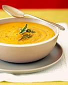 Squash Soup with Sage Leaf Garnish