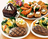 Grilled Steak Entrees with an Appetizer Platter and a Brownie Sundae