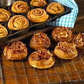 Pecan Sticky Buns on a Cooling Rack and in a Pan