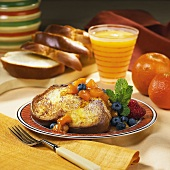 Challah French Toast with Apricot Sauce and Orange Juice